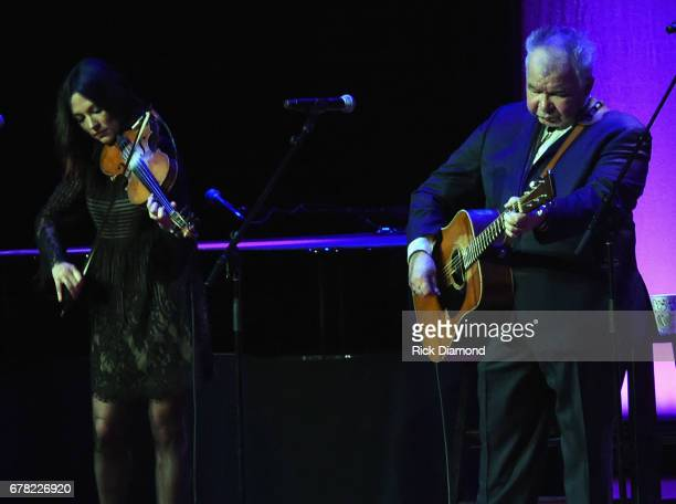 Singers/Songwriters Amanda Shires and John Prine perform during Love Letters Thistle Farms Turns 20 at the Ryman Auditorium on May 3 2017 in...
