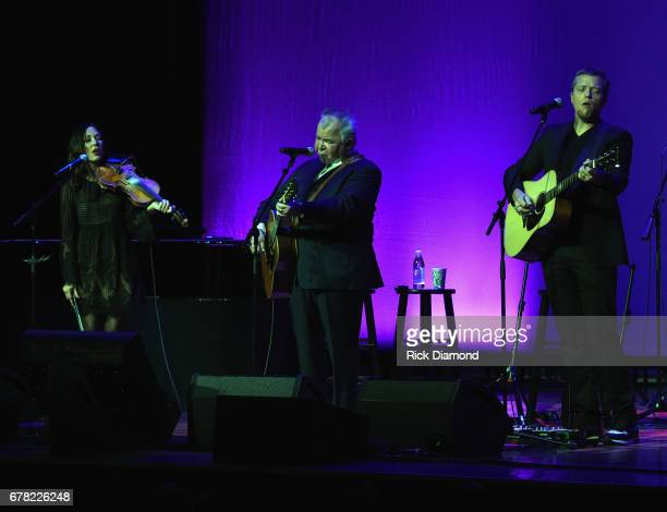Singers/Songwriters Amanda Shires John Prine and Jason Isbell perform during Love Letters Thistle Farms Turns 20 at the Ryman Auditorium on May 3...