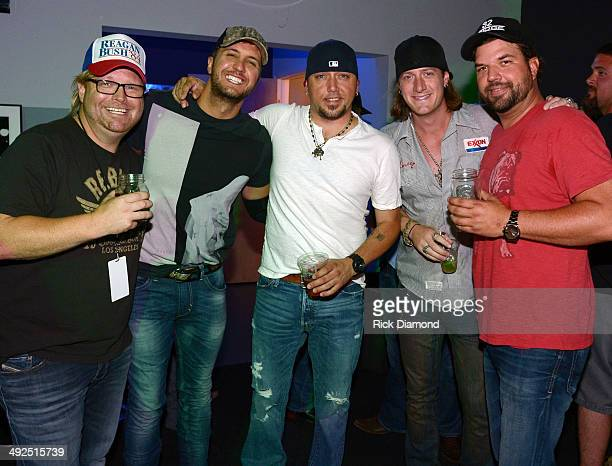 Singers/Songwriters Bobby Pinson Luke Bryan Jason Aldean Tyler Hubbard and Dallas Davidson backstage during Peach Pickers Friends Host A Night of...