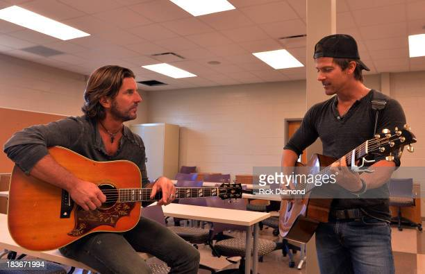 Singers/Songwriters Brett James and Kip Moore at GRAMMY U Fall KickOff with Kip Moore and Brett James at MTSU on October 8 2013 in Murfreesboro...