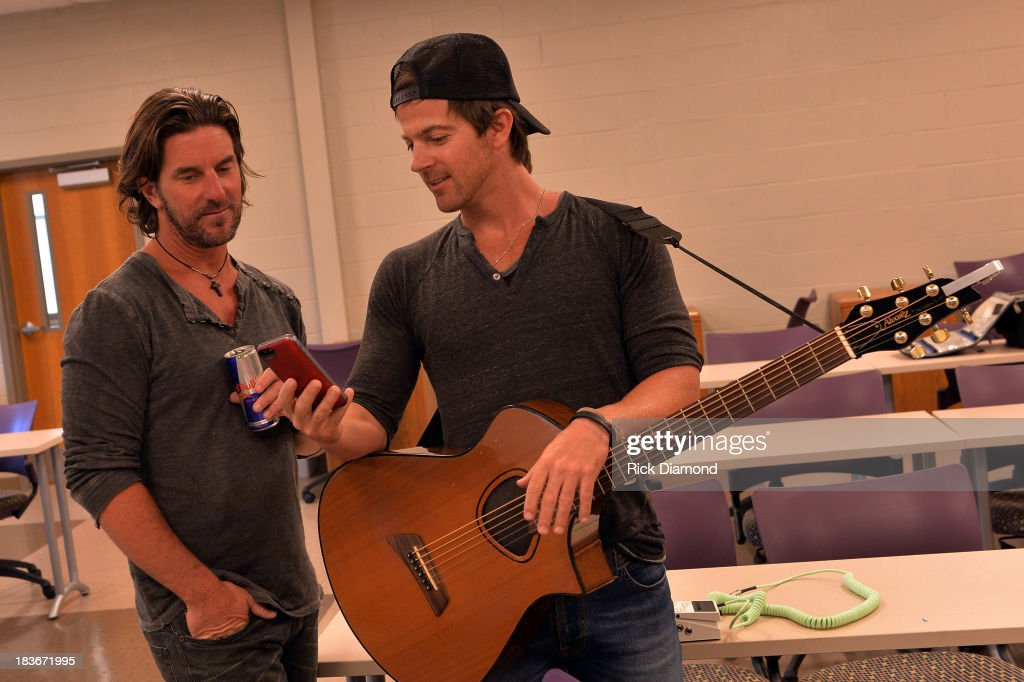 Singers/Songwriters Brett James and Kip Moore at GRAMMY U Fall Kick-Off with Kip Moore and Brett James at MTSU on October 8, 2013 in Murfreesboro, Tennessee.