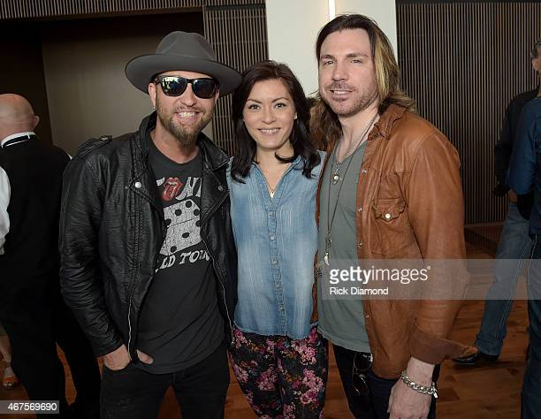 Singers/Songwriters Chris Lucas of LOCASH Miki Jarrett and Drew Six attend the CMA announcement that JIM ED BROWN AND THE BROWNS GRADY MARTIN AND THE...