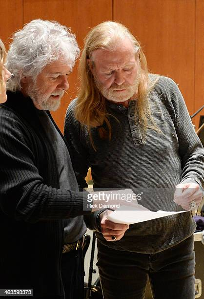 Singers/Songwriters Chuck Leavell and Gregg Allman during rehearsals for 'Celebrating Georgia With Chuck Leavell Friends' at Atlanta Symphony Hall on...