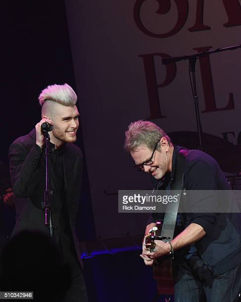 Singers/Songwriters Colton Dixon and Steven Curtis Chapman perform at Sam's Place Music For The Spirit at Ryman Auditorium on February 14 2016 in...