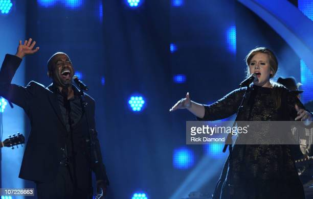Singers/Songwriters Darius Rucker and Adele perform during the CMT Artists of the Year at The Factory on November 30 2010 in Franklin Tennessee