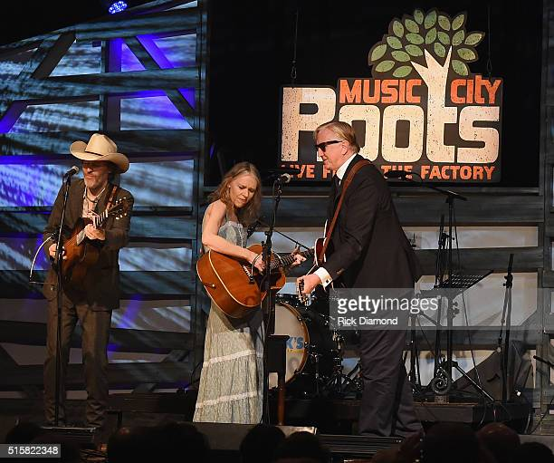 Singers/Songwriters Dave Rawlings and Gillian Welch are joined by Singer/Songwriter T Bone Burnett on stage during a special Tuesday night edition of...