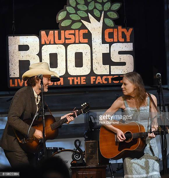 Singers/Songwriters Dave Rawlings and Gillian Welch perform during a special Tuesday night edition of Music City Roots Berklee Presents American...