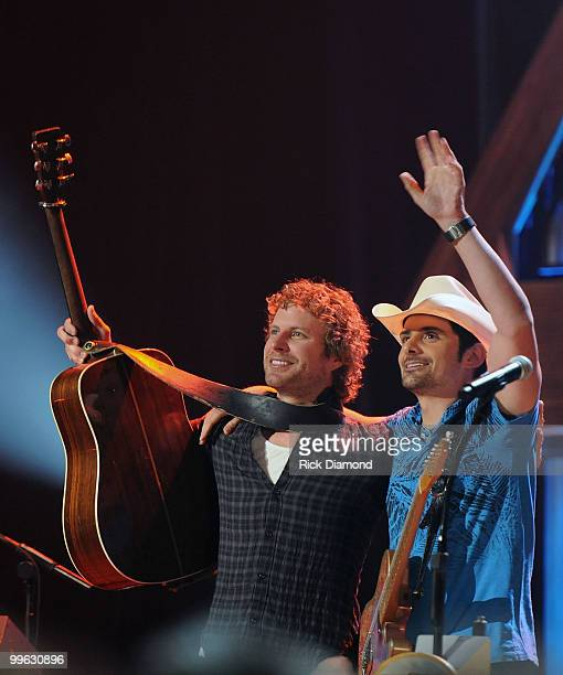 Singers/Songwriters Dierks Bentley/Brad Paisley perform during the Music City Keep on Playin' benefit concert at the Ryman Auditorium on May 16, 2010...