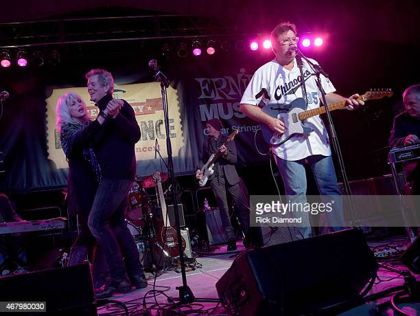 Singers/Songwriters Emmylou Harris and Rodney Crowell dance while Vince Gill performs during the 2015 Celebrity Barn Dance a Benefit Concert at The...