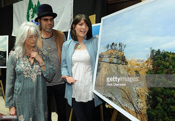 Singers/Songwriters Emmylou Harris Big Kenny Alphin and Kathy Mattea during the Music Saves Mountains benefit concert press conference at the Ryman...