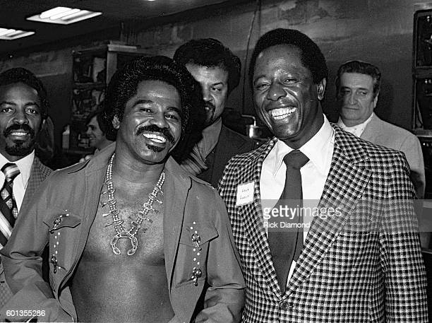 Singers/Songwriters Godfather of Soul James Brown with Sports Legend Hammerin Hank Aaron attend Former Governor of Georgia Jimmy Carter's fundraiser...