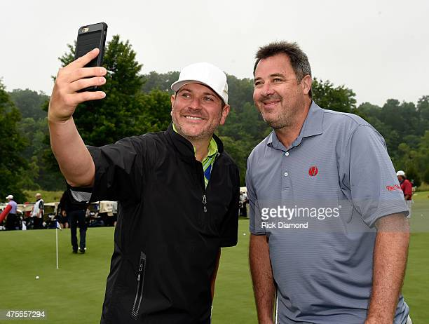 Singers/Songwriters Jay DeMarcus and Vince Gill attend The 23nd Annual Vinny ProCelebrityJunior Golf Invitational hosted by Vince Gill at the Golf...