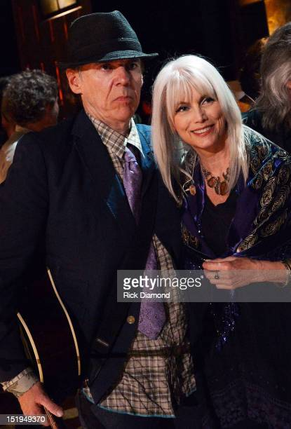 Singers/Songwriters John Hiatt and Emmylou Harris backstage during the 11th Annual Americana Honors Awards at The Ryman Auditorium on September 12...