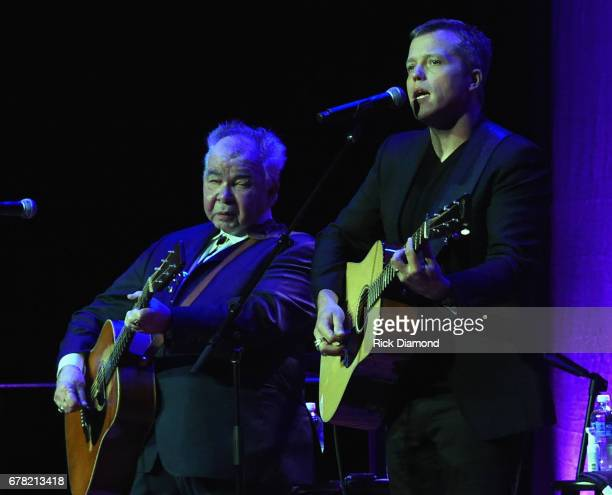 Singers/Songwriters John Prine and Jason Isbell perform during Love Letters Thistle Farms Turns 20 at the Ryman Auditorium on May 3 2017 in Nashville...