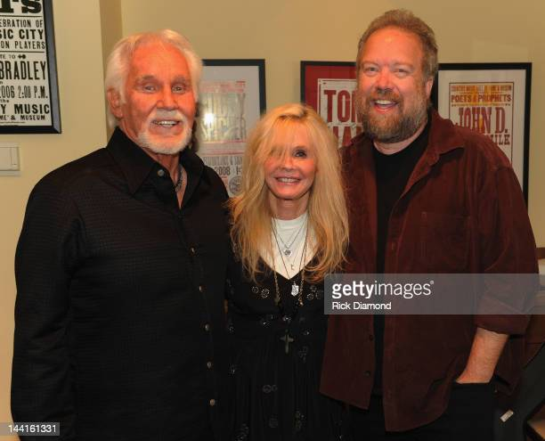 Singers/Songwriters Kenny Rogers, Kim Carnes and Don Schlitz backstage at the Country Music Hall Of Fame And Museum's in the Ford Theater as part of...
