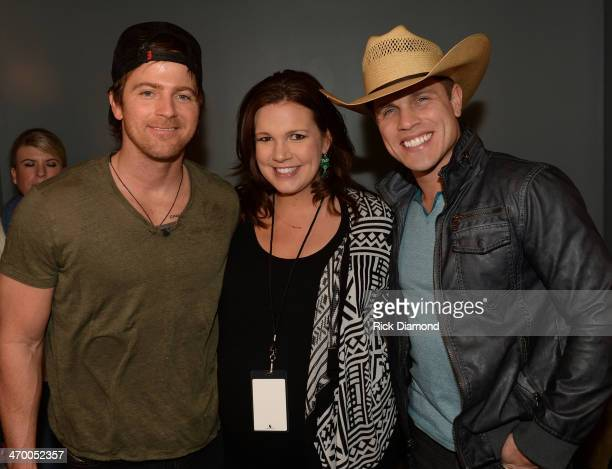 Singers/Songwriters Kip Moore and Dustin Lynch are joined backstage by Lauren Black Editor Country Music is Love during the 5th annual Country Music...