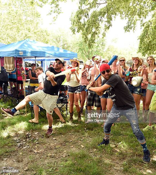 Singers/Songwriters LOCASH Chris Lucas and Preston Brust visit campers during Kicker Country Stampede Day 2 on June 26 2015 at Tuttle Creek State...