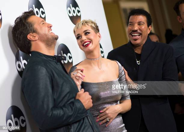 Singers/Songwriters Luke Bryan Katy Perry and Lionel Richie attend the Disney ABC Television TCA Winter Press Tour on January 8 in Pasadena California