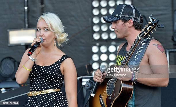 Singers/Songwriters Meghan Linsey and Joshua Scott Jones of Steel Magnolia perform at the First Annual Delta Country Jam Day 1 on October 4 2013 in...