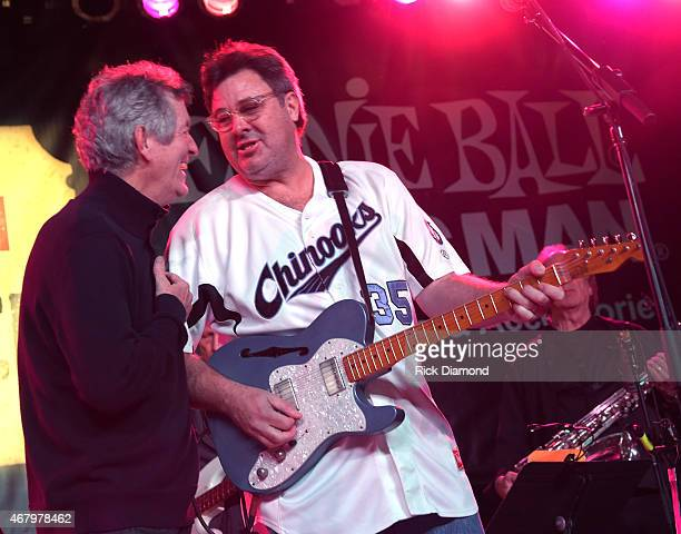 Singers/Songwriters Rodney Crowell and Vince Gill perform during the 2015 Celebrity Barn Dance a Benefit Concert at The Jaeckle Centre on March 28...