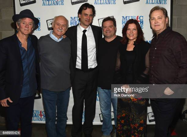 Singers/Songwriters Rodney Crowell Sonny Curtis Peter Cooper Frank Rogers Rosanne Cash and Steve Wariner backstage during The First And The Worst...