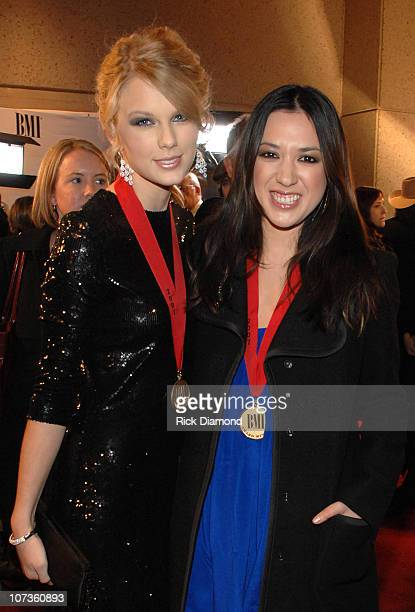 Singers/Songwriters Taylor Swift and Michelle Branch pose for a photo at the BMI Country Awards and reception honoring Willie Nelson at the BMI...
