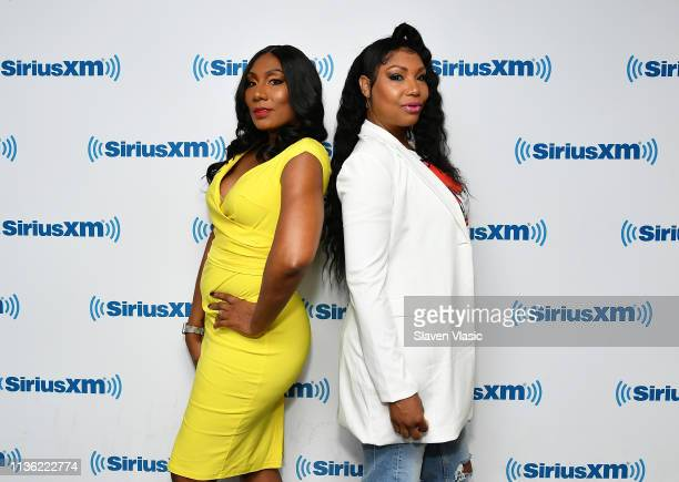 Singers/TV personalities Towanda Braxton and Traci Braxton visit SiriusXM Studios on April 10, 2019 in New York City.