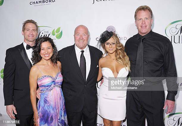 Singer/TV personality Aubrey O'Day and The Mint Jubilee cofounders Matt Battaglia his wife Tina Battaglia Tom Thieneman and Chris Thieneman attend...
