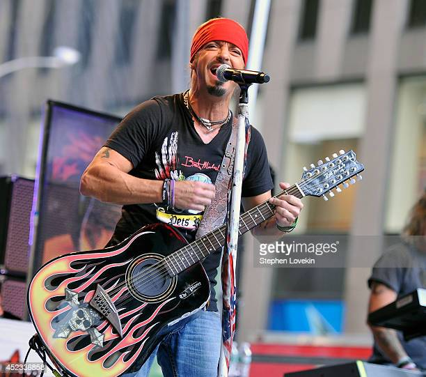 Singer/TV personality Bret Michaels performs during FOX Friends All American Concert Series outside of FOX Studios on July 18 2014 in New York City