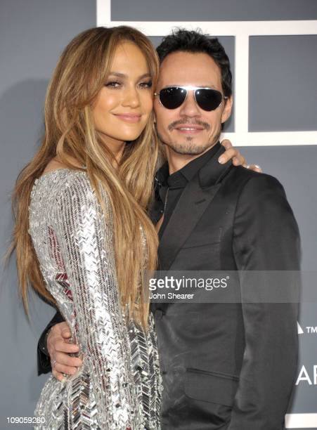 SingerTV personality Jennifer Lopez and husband singer Marc Anthony arrive at The 53rd Annual GRAMMY Awards held at Staples Center on February 13...