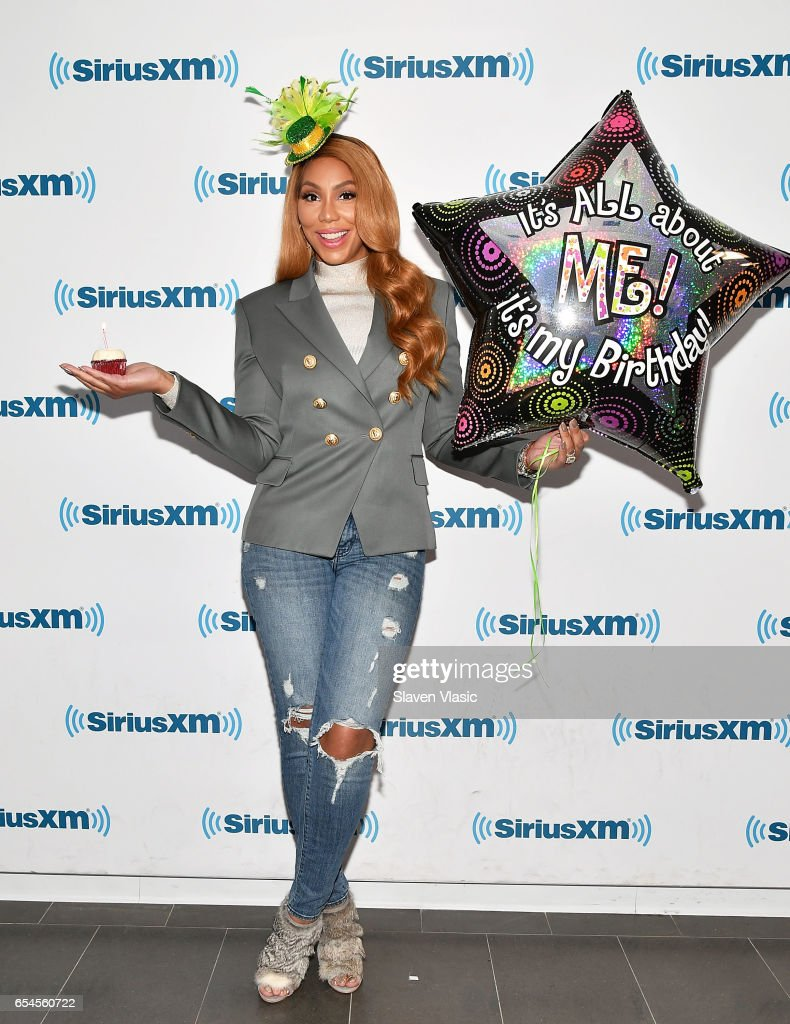 Singer/TV personality Tamar Braxton celebrates her birthday and Saint Patrick's Day at SiriusXM Studios on March 17, 2017 in New York City.