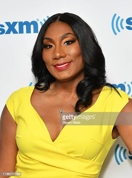 Singer/TV personality Towanda Braxton visits SiriusXM Studios on April 10, 2019 in New York City.