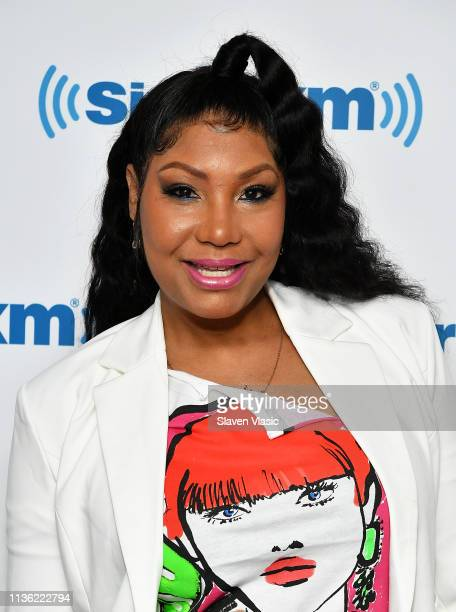 Singer/TV personality Traci Braxton visits SiriusXM Studios on April 10, 2019 in New York City.