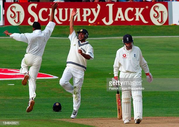 Singh and Ganguly celebrate the dismissal of Crawley England v India 3rd Test Headingley Aug 02