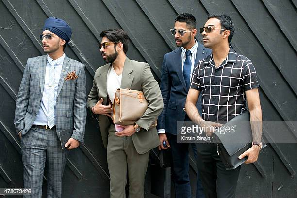 Singh Street Style Blogger Pardeep Singh wears Next suit Topman shirt and tie and Ray Ban sunglasses With menswear designer Saran Kohli who wears...