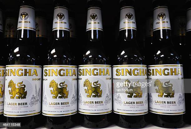 Singha beer stands ready for sale in a Chinatown supermarket as the Chinese community come together to welcome in the Chinese New Year on February 22...