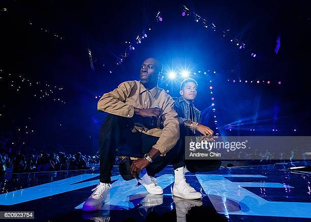 Singing and songwriting duo Nico Sereba and Vincent Dery of Nico Vinz perform onstage during 'WE Day Vancouver' at Rogers Arena on November 3 2016 in...