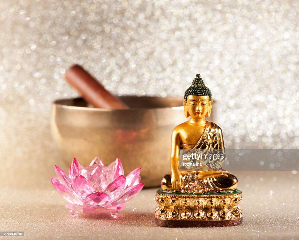 Singing Bowl Lotus Flower And Buddha Statue Meditation Concept Stock