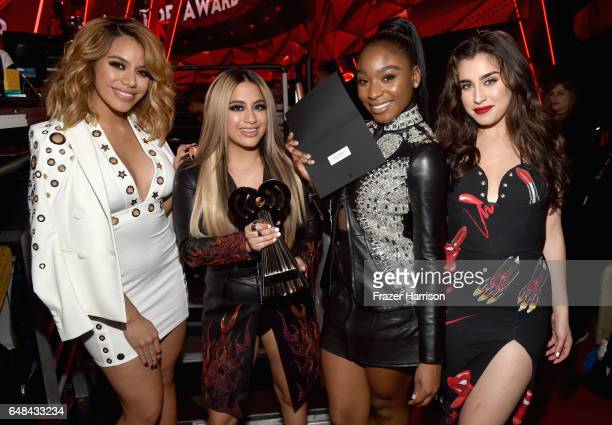 Singing group Fifth Harmony poses backstage at the 2017 iHeartRadio Music Awards which broadcast live on Turner's TBS TNT and truTV at The Forum on...