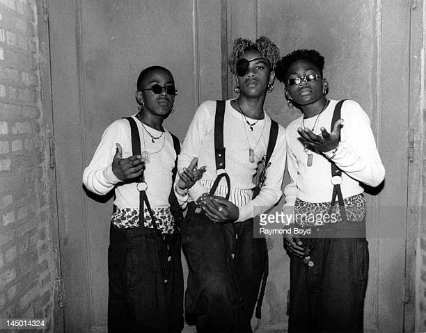 Singing group Immature poses for photos backstage at the Regal Theater in Chicago Illinois in JANUARY 1994