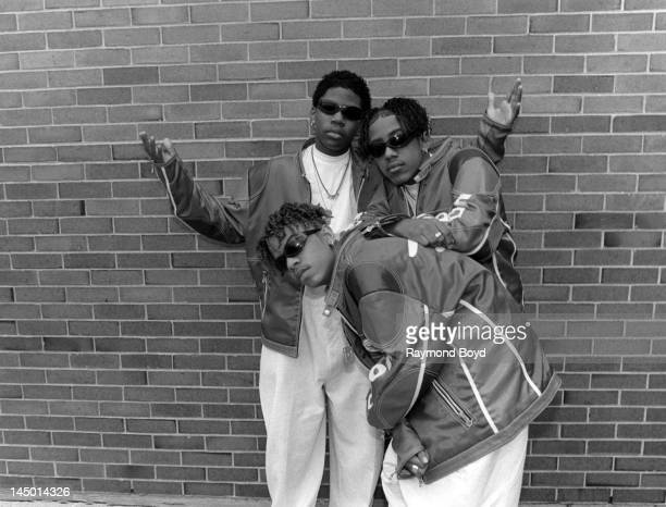 Singing group ImmatureJerome Romeo Jones Kelton LDB Kessee Marques Batman Houston poses for photos backstage at the Regal Theater in Chicago Illinois...