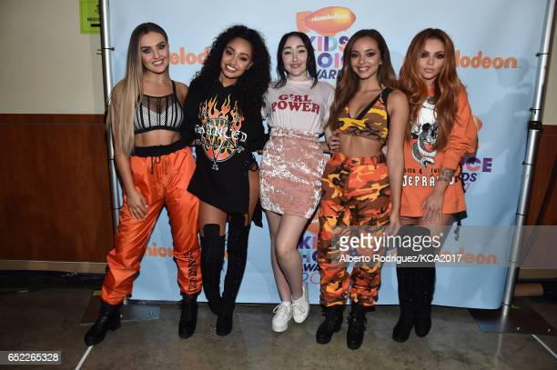 Singing Group Little Mix Winners of Favorite Global Music Star pose with their award backstage at Nickelodeon's 2017 Kids' Choice Awards at USC Galen...