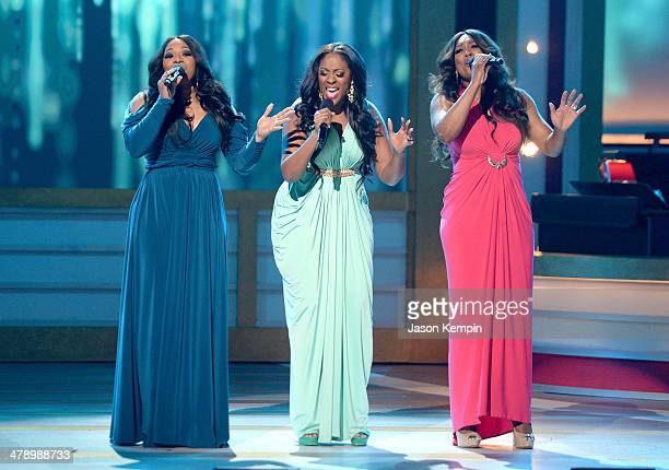 Singing group SWV perform onstage during BET Celebration of Gospel 2014 at Orpheum Theatre on March 15 2014 in Los Angeles California