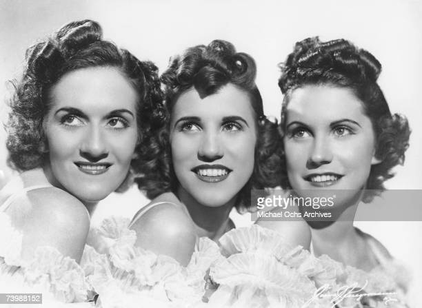 Singing group The Andrews Sisters pose for a portrait circa 1938 in New York City New York