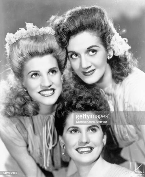 Singing group The Andrews Sisters pose for a portrait circa 1944 in New York City New York