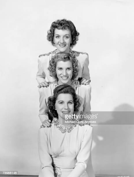Singing group The Andrews Sisters pose for a portrait circa 1945 in New York City New York