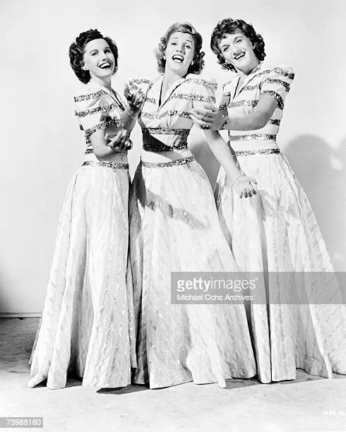 Singing group The Andrews Sisters pose for a portrait circa 1952 in New York City New York