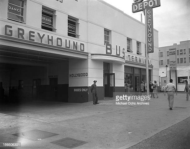 Singing group The Dinning Sisters outside the Greyhound Bus Terminal in Hollywood on March 23 1946 in Los Angeles California