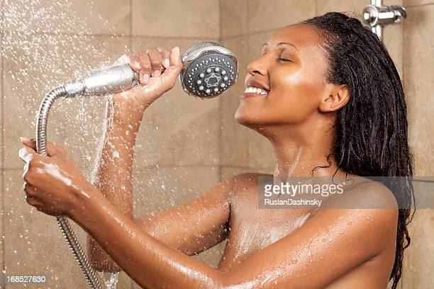 Singing in shower.
