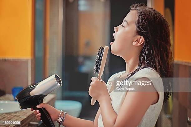 singing in the bathroom